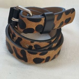 LOFT Leopard Print Haircalf Belt sz M #1307